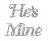 He's Mine Silver Glitter Wedding Shoe Stickers